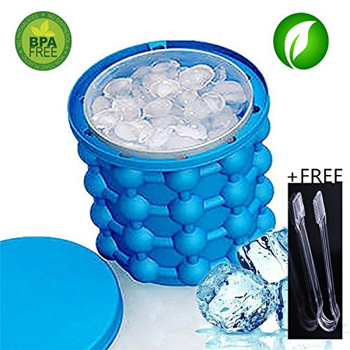 Irlde ice genie Eis Eimer Silikon Eiskübel Sauver Ice Cube Maker,Wie im TV gesehen 2in1 Umweltschutz BPA FREE Silikon Eiskübel (Blau)