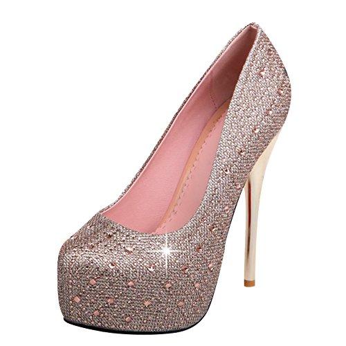 Mee Shoes Damen Stiletto inner Plateau Pailletten Pumps Gold