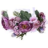 Awaytr - Fascia per capelli a forma di corona con fiori, per matrimoni e feste Lila + Rosa Taglia unica