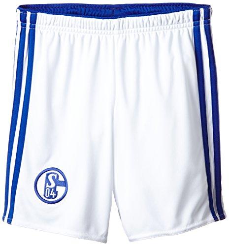 adidas Herren Fußball/Heim-shorts Schalke 04, Weiß/Boblue, 152, D88455 (Nadelstreifen-kordelzug)