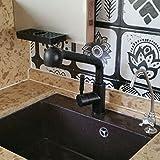 Bijjaladeva Antike Küche Spülbecken Quarz Stein Waschbecken Armaturen Waschbecken Armaturen alle upscale - Kupfer mit warmen und kalten Wasserhahn matteblack ziehen