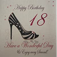 white cotton cards 1-Piece Happy Birthday Have A Wonderful Birthday Extra-Large 18th Birthday Card, Shoe