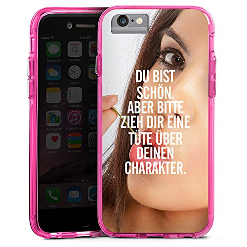 Apple iPhone 6 Bumper Hülle Bumper Case Glitzer Hülle Charakter Sprüche Sayings Bumper Case transparent pink