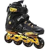 Kingdom GB DLF Dynamic Wind - Patines en línea de Freestyle, velocidad y slalom, Hombre, negro y dorado, 43