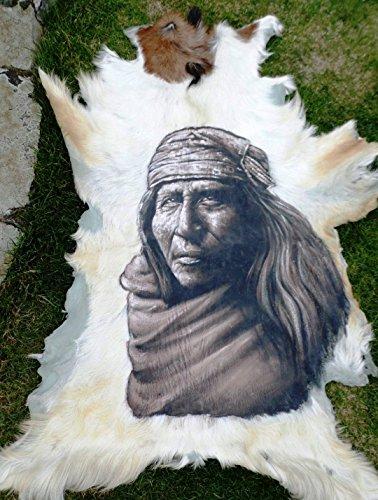 Indianer Kultur - Portrait handgemalt auf echtem Fell Fell, Horn