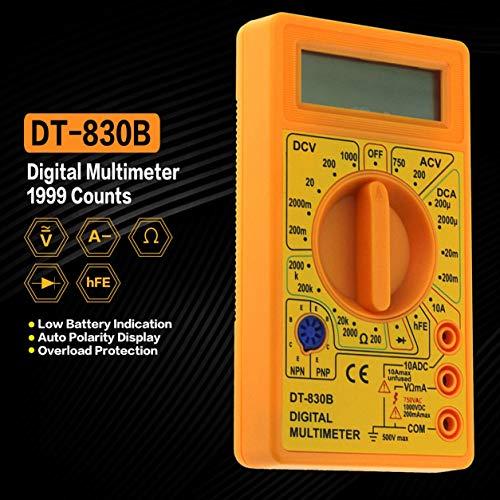 DT-830B Mini-Tasche Digitalmultimeter 1999 zählt AC/DC Volt Amp Ohm Ohm hFE Tester Amperemeter Voltmeter Ohmmeter (Farbe: Gelb)