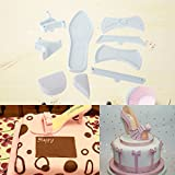 CHIC*MALL 1Set/9Pcs Lady High-Heeled Shoe Plastic Sandal Fondant Cake Baking Mould Mold