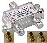 SAT & BK-Verteiler - 2-fach Splitter - voll geschirmt - unicable & HD tauglich DUR-line D2FV - Verteiler für Satelliten-Anlagen(DVB-S2) - BK - UKW Radio - DC-Durchlass inkl. 3 Stück F-Stecker