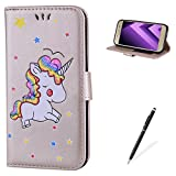 MAGQI For Samsung Galaxy A320/A3 2017 PU leder Wallet Brieftasche Hülle,Viele Farbe Unicorn Muster mit Magnetverschluss Flip Book Style Cover [with Free Touch Pen] -Gold
