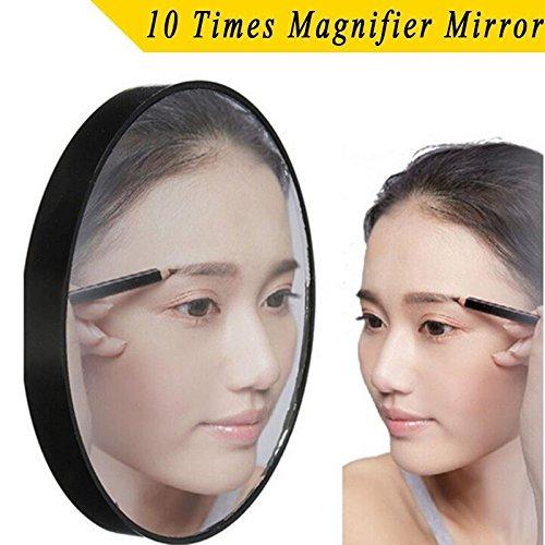 attachmenttou Nouveau Miroir Loupe 10X Maquillage de rasage Coupes Soins cosmétiques Noir Compact