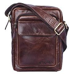 Idea Regalo - STILORD 'Jannis' Borsello a tracolla uomo in pelle Piccola borsa messenger per tablet da 9.7 pollici Borsetta in vero cuoio resistente stile vintage, Colore:marrone - cioccolata