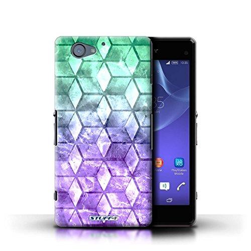 Kobalt® Imprimé Etui / Coque pour Sony Xperia A2 / Vert/Bleu conception / Série Cubes colorés Vert/Violet