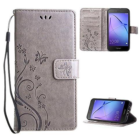 """Coque Huawei Honor 6A Étui Bookstyle Gris , Leathlux Motif Housse en Cuir Flip Case Coque de Intérieure TPU Silicone Wallet Pochette Support avec Porte-cartes pour Huawei Honor 6A 5.0"""""""