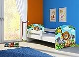 Clamaro 'Fantasia Weiß' 140 x 70 Kinderbett Set inkl. Matratze und Lattenrost, mit verstellbarem Rausfallschutz und Kantenschutzleisten, Design: 02 Tierpark-2