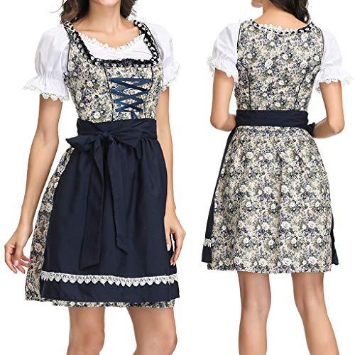 Hunpta@ Dirndl Damen,Frauen Plus Size Dirndl Kleid Bayerisches Bier Festival Cosplay Kostüme Karneval Oktoberfest Trachten Verkleidung,Oktoberfest Kostüm Bayerisches Biermädchen Kostüm Damen