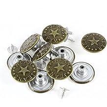 Botones de Jeans - TOOGOO(R) 10 piezas de botones de impresiones de estrella de vaquero jeans botones de tono de bronce de metal
