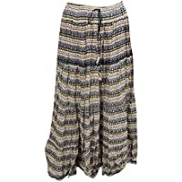 Womens Maxi Peasant Skirt Summer Multi Green Printed Flared Crinkle Long Skirt L