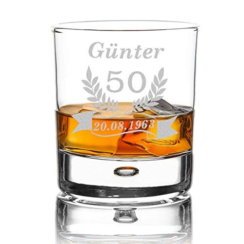 polar-effekt Personalisierbares Whiskeyglas mit Gravur - graviertes Whiskey Glas als Geschenk-Idee für Männer, für Papa - Geschenk für Freund zum Geburtstag - Motiv Jubiläum Ährenkranz Banner (Anpassen Geburtstag Banner)