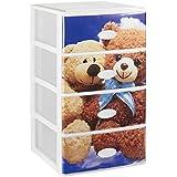 Gran plástico apilable Set de 4cajones con cristal frontal decorado infantil, azul/blanco, juego de 21