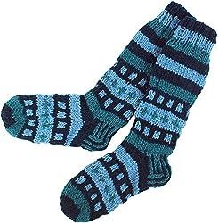 Guru-Shop Handgestrickte Schafwollsocken, Nepal Socken, Herren/Damen, Blau, Wolle, Size:L (40-43), Socken & Beinstulpen Alternative Bekleidung