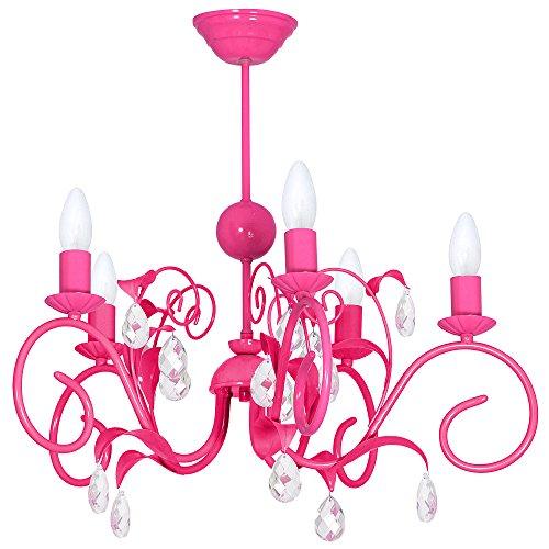 LIWIA DARK PINK / DUNKEL ROSA 5 Hängelampe Deckenleuchte Deckenlampe Kronleuchter