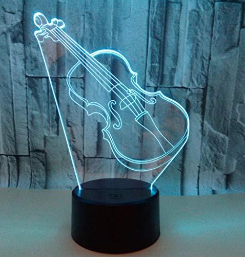 ZJFHL 3D Illusion Lamp Night Light Kawaii Geige Form Tischleuchte 3 AA Batterien oder USB-Kabel Powered Schöne Acryl Material Panel ABS Basis für Tischdekoration und Nacht Dekoration