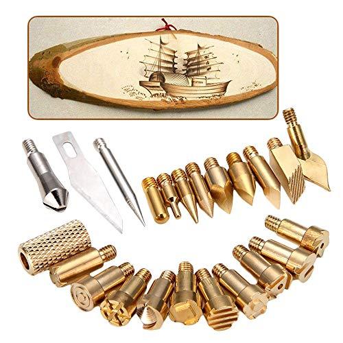 LKSDD Holzverbrennungsset, 23 Stück Holzprägeset mit Eisenspitze, Grill-Brandmalerei-Beschriftungsset, Gravurzubehör-Schneidkopfset Ton-art-grill