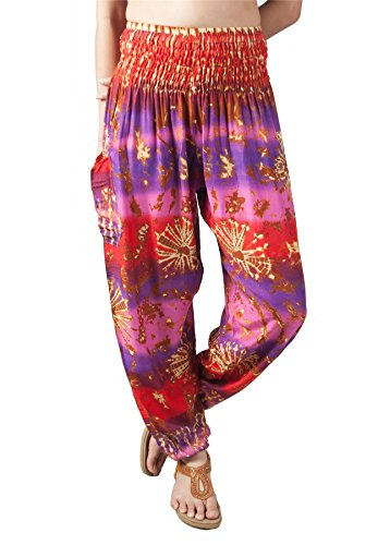 Lofbaz Damen gedruckt Flowy Boho Hosen Bindung gefärbter Violett & Rosa 2XL (Xxl-rosa-yoga-hosen Für Frauen)