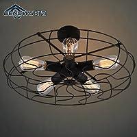 KHSKX Lampada da soffitto,E27 Nordic semplicità personalità creative di arte soggiorno camera da letto balcone industriale vintage tavolo da pranzo 5 ventola forma lampada da soffitto 540*260mm