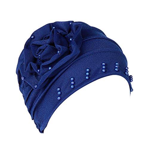 URSING Damen Kopftuch Muslim Ruffled Cancer Chemo Mütze Schal Turban Wrap Cap Stylish Elegan Blumen Indien Hut Multifunktionstuch Kopfbedeckung für Chemo, Krebs, Make up (Blau)