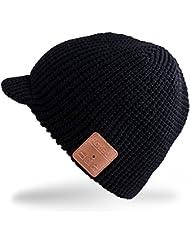 Rotibox hiver de sport en plein air Trendy Bluetooth Beanie chapeau casquette avec casque stéréo sans fil casque écouteur haut-parleur micro mains libres pour Iphone Samsung Android téléphones cellulaires, les meilleurs cadeaux de Noël - Noir