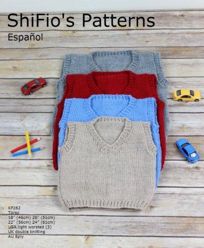 """patrón para dos agujas – KP262 - jersey/suéter sin mangas con cuello a V, medida del torso 18"""", 20"""", 22"""" y 24"""" (Spanish - Sueter En V"""