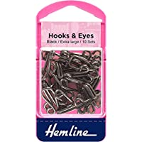 Hemline H401.9 Black/Brass Rust Proof Hook/Eyes Size 9 10 Sets in a Plastic Box