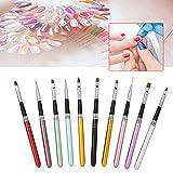 10 Pcs/set DIY Pluma de uñas para pintura y manicura con mango de metal, patrón grabado