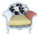 Art.HE03 Poltrona barocca decapata grey Rivestimento in tessuto patchwork Dimensioni cm 95 x 75 Altezza cm 85 Stendhal Stores