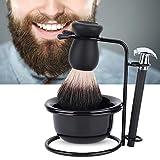 Ensemble de rasage 4 en 1 pour hommes, ensembles de rasoir pour hommes avec support, porte-savon, blaireau et rasoir pour usage domestique