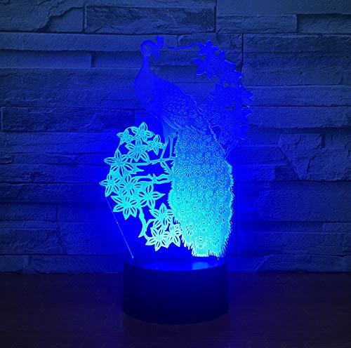3D Tischlampe 7 Farben Led Touch Schalter Usb Nachtlichter Schlaf Beleuchtung Home Schlafzimmer Dekor Geschenk ()