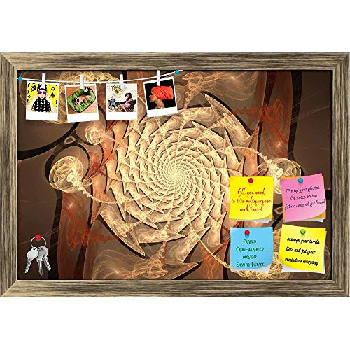 Artzfolio Time Tunnel Abstract Science Fiction Flame Printed Bulletin Board Notice Pin Board | Antique Golden Frame 23.5 X 16Inch