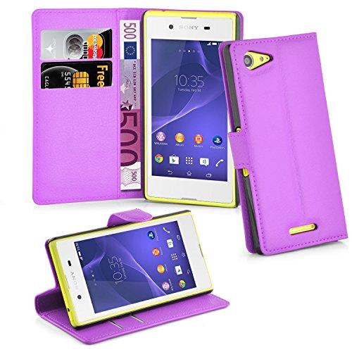 Cadorabo Hülle für Sony Xperia E3 Hülle in Mangan Violett Handyhülle mit Kartenfach & Standfunktion Case Cover Schutzhülle Etui Tasche Book Klapp Style Mangan-Violett