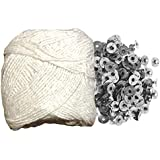 Krokio Candle Wick Thread Cotton roll 25 Meter with 100 Piece Wick sustainers for Candle Making