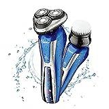 Hatteker Elektrischer Rasierer Elektrorasierer Rotationsrasierer 2 in 1 Nass- & Trockenrasierer Wasserdicht mit Gesichtsreinigungsbürste 3D Rasierer Präzisionstrimmer, Vollständig abwaschbar
