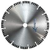 Profi Diamant Trennscheibe TURBO SUPERCUT, 230 mm, standard universalt für alle Baumaterialien, für Beton, Betonplatten, Pflastersteine, Mauerwerk, perfekt für Stahlbeton, kämpft sich auch durch Moniereisen, auch für armierte Materialien