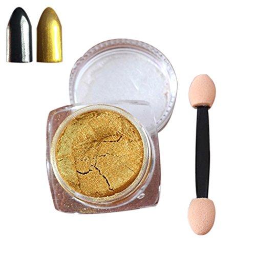 Nail Mirror Powder,Transer ® 2g / boîte Sliver Nail Glitter poudre Shinning ongles miroir maquillage Art bricolage Chrome Pigment de la poudre(Or)