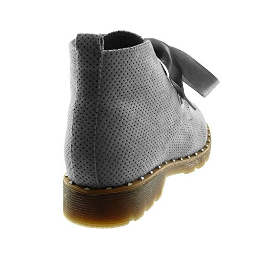 Angkorly Chaussures Mode Bottines Chaussures Derby Chaussures Desert Bottes Femmes Satin Lacets Perforées Clouté Talon 3 Cm Gris