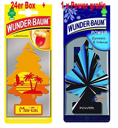 Wunderbaum 24er-Box Original Lufterfrischer Mai Tai Duftbaum inkl. 1 Stück Original Power Wunder-Baum Duftbäumchen Little Trees (Mai Thai)