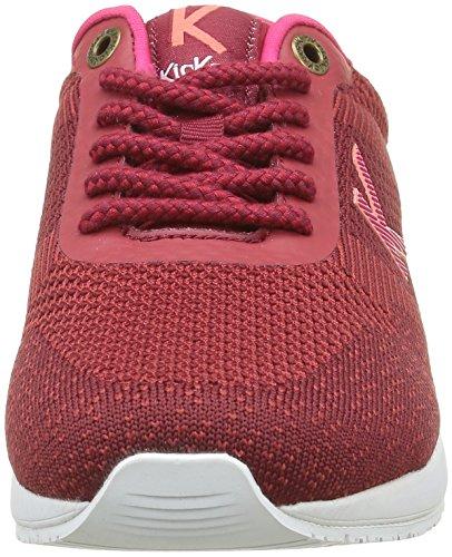 Kickers Knitwear, Baskets Basses Femme Rouge (Bordeaux Fuchsia)