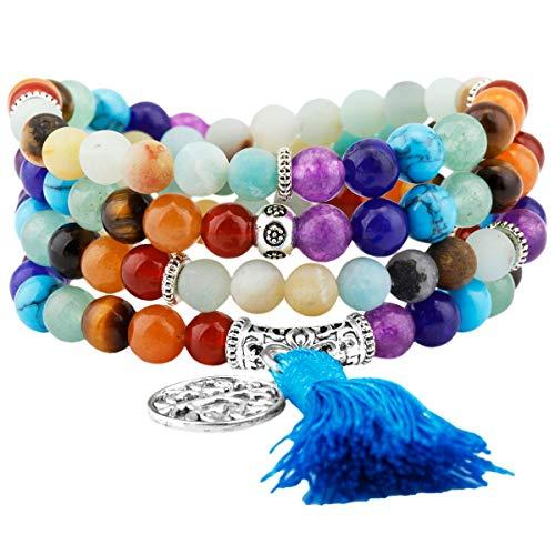 KYEYGWO 108 Gebet Mala Perlen Armband für Damen Herren, 6mm Tibetisch-buddhistischen 7 Chakra Heilstein Halskette für Unisex, Amazonite