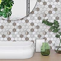 STRIR 10pcs Decorativos Adhesivos Para Azulejos Pegatina de pared,diseño de Líneas de mármol, efecto 3d, autoadhesivo, Para cuarto de baño y cocina, 20cm*20cm (C)