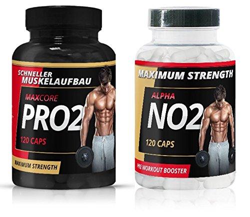 Maxcore Pro2 + Alpha NO2 | Testosteron Booster + Mega Muscle Booster | Extrem Testo Tribulus Tabletten | Nahrungsergänzungsmittel für Den Muskelaufbau