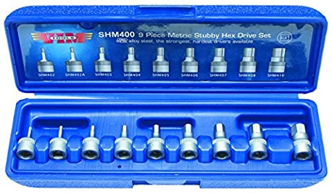 Produits Vim VIMSHM400 9-Piece 1/4 po Dr Metric 2mm - 10mm Hex Bit Set Stubby